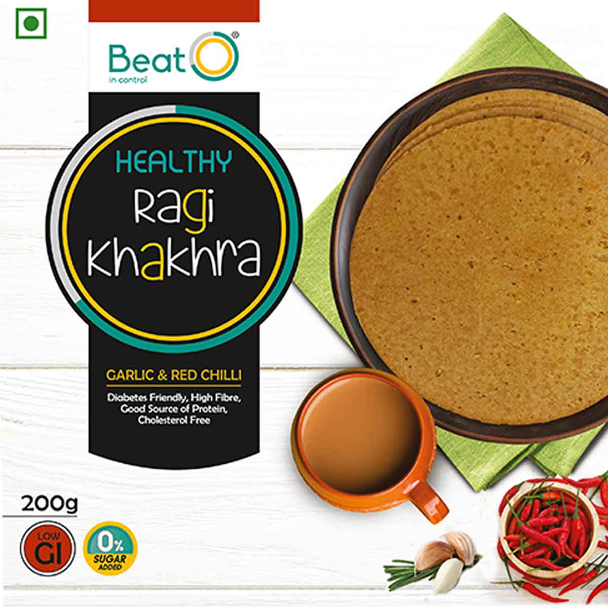 Ragi Khakhra - Garlic and Red Chilli