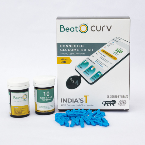 BeatO Curv Glucometer with 20 Strips And 10 Lancets - USB Micro