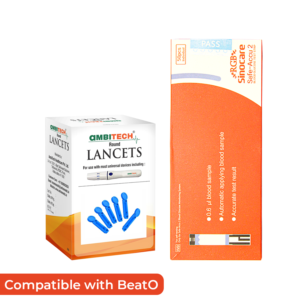 RGB Sinocare Safe Accu 2 Blood Glucose Test Strip with Lancets (50 strips and 50 lancets) + 1 Complimentary BeatO Organic Tea for Digestion