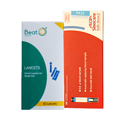 RGB Sinocare Safe Accu 2 Blood Glucose Test Strip with Lancets (50 strips and 50 lancets)